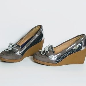 Sperry Top Sider Goldfish Sequin Leather Wedges
